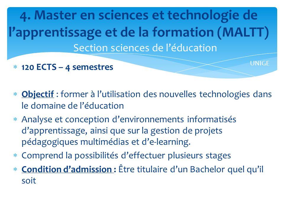 120 ECTS – 4 semestres Objectif : former à lutilisation des nouvelles technologies dans le domaine de léducation Analyse et conception denvironnements informatisés dapprentissage, ainsi que sur la gestion de projets pédagogiques multimédias et de-learning.
