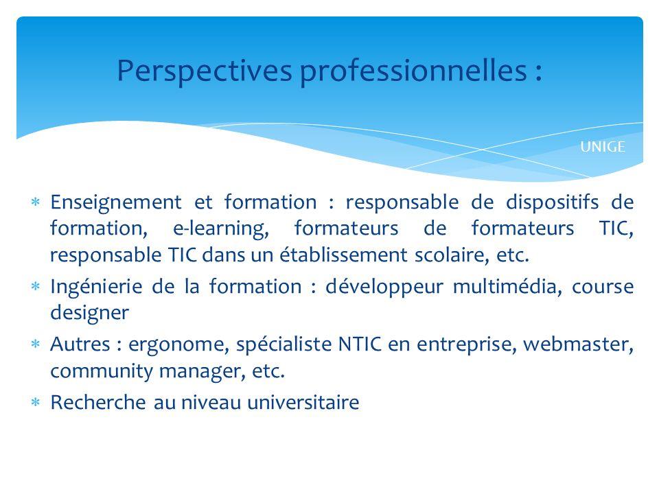 Enseignement et formation : responsable de dispositifs de formation, e-learning, formateurs de formateurs TIC, responsable TIC dans un établissement scolaire, etc.