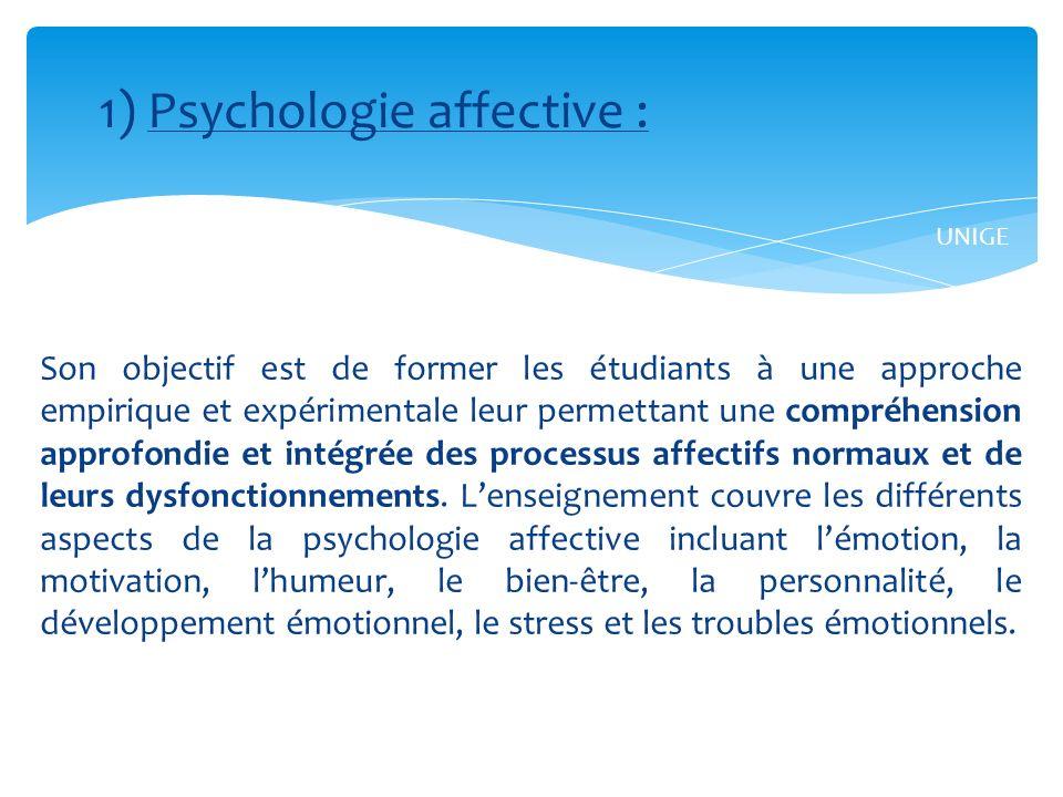 Son objectif est de former les étudiants à une approche empirique et expérimentale leur permettant une compréhension approfondie et intégrée des processus affectifs normaux et de leurs dysfonctionnements.