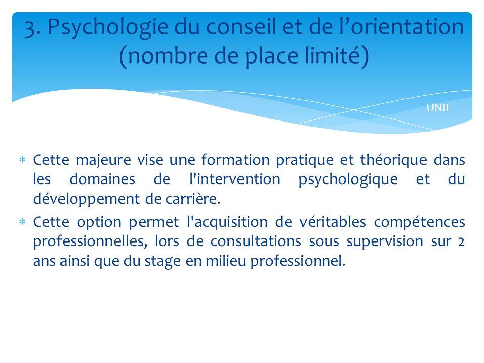 Cette majeure vise une formation pratique et théorique dans les domaines de l intervention psychologique et du développement de carrière.