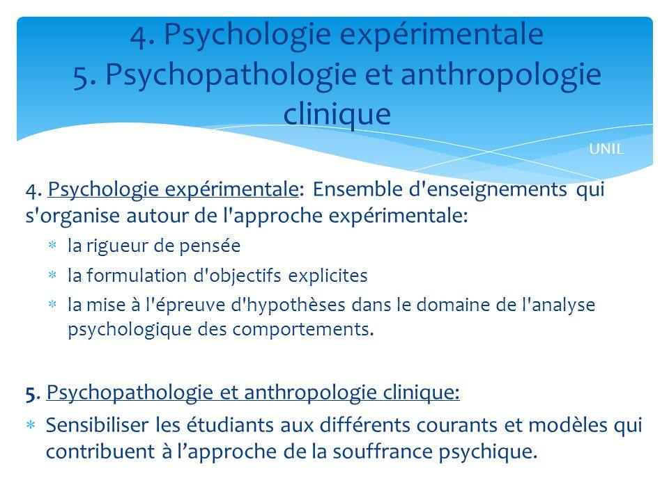 4. Psychologie expérimentale: Ensemble d'enseignements qui s'organise autour de l'approche expérimentale: la rigueur de pensée la formulation d'object