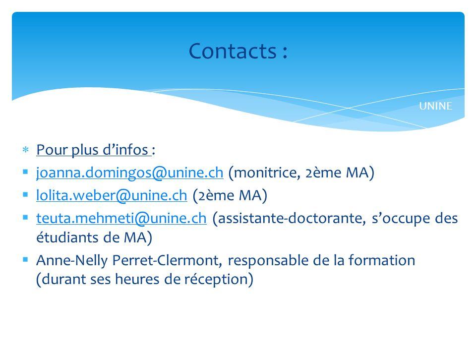 Pour plus dinfos : joanna.domingos@unine.ch (monitrice, 2ème MA) joanna.domingos@unine.ch lolita.weber@unine.ch (2ème MA) lolita.weber@unine.ch teuta.mehmeti@unine.ch (assistante-doctorante, soccupe des étudiants de MA) teuta.mehmeti@unine.ch Anne-Nelly Perret-Clermont, responsable de la formation (durant ses heures de réception) Contacts : UNINE