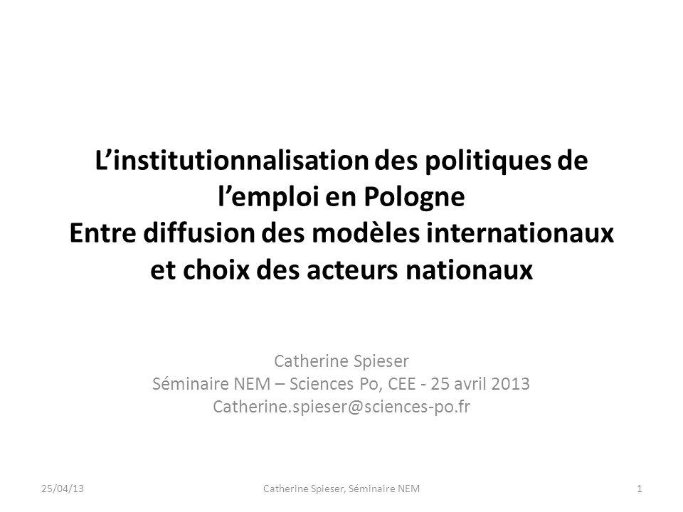 Linstitutionnalisation des politiques de lemploi en Pologne Entre diffusion des modèles internationaux et choix des acteurs nationaux Catherine Spiese