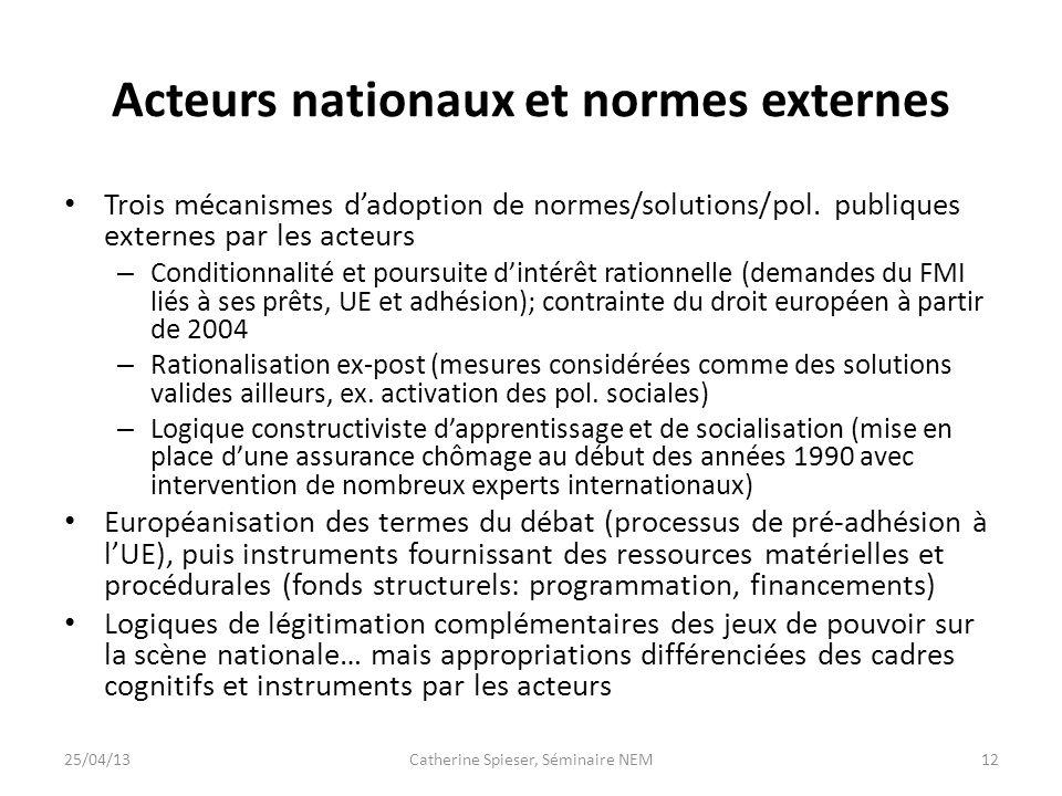 Acteurs nationaux et normes externes Trois mécanismes dadoption de normes/solutions/pol. publiques externes par les acteurs – Conditionnalité et pours