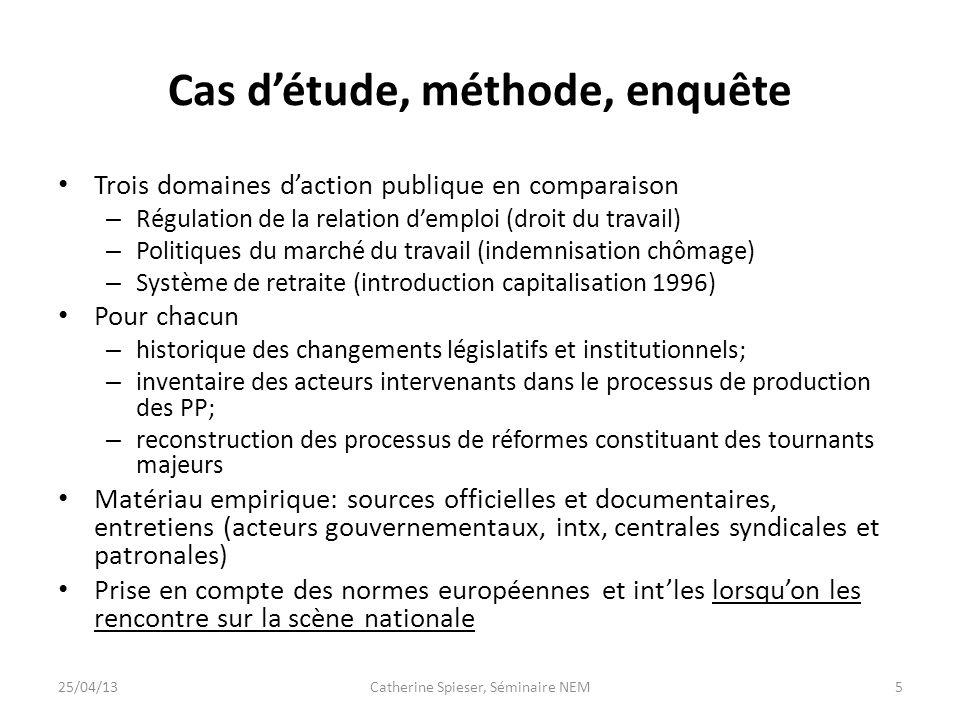 Cas détude, méthode, enquête Trois domaines daction publique en comparaison – Régulation de la relation demploi (droit du travail) – Politiques du mar