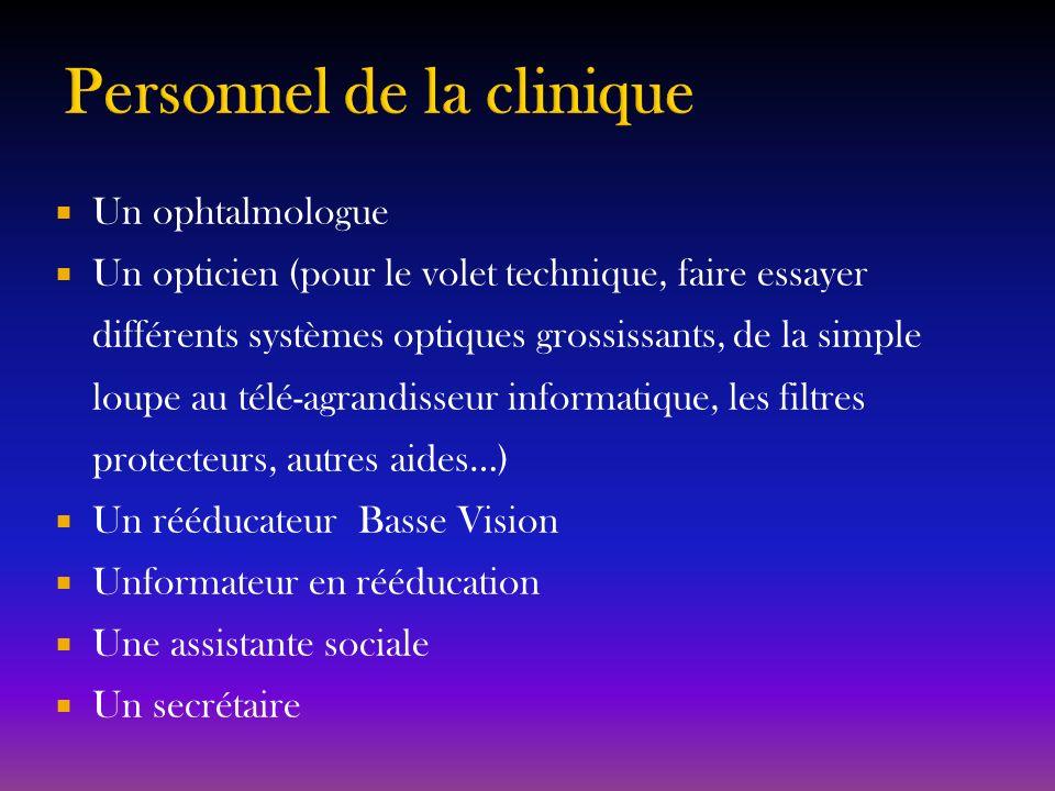 Un ophtalmologue Un opticien (pour le volet technique, faire essayer différents systèmes optiques grossissants, de la simple loupe au télé-agrandisseu