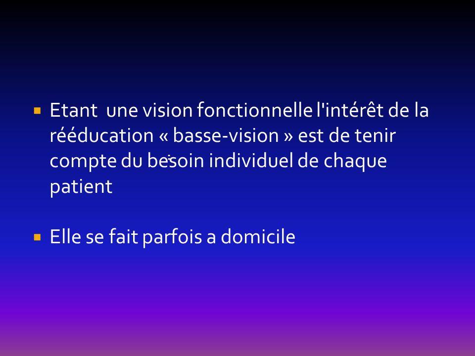 Etant une vision fonctionnelle l'intérêt de la rééducation « basse-vision » est de tenir compte du besoin individuel de chaque patient Elle se fait pa
