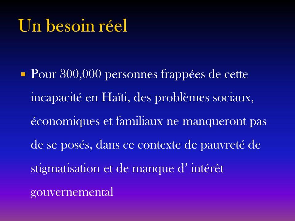 Pour 300,000 personnes frappées de cette incapacité en Haïti, des problèmes sociaux, économiques et familiaux ne manqueront pas de se posés, dans ce c