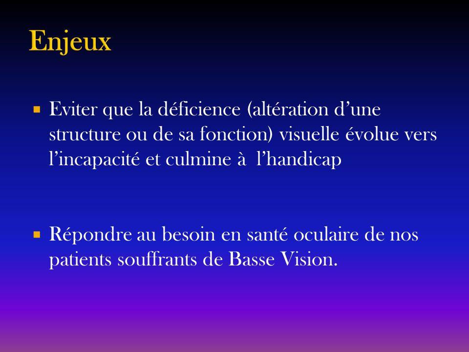 Eviter que la déficience (altération dune structure ou de sa fonction) visuelle évolue vers lincapacité et culmine à lhandicap Répondre au besoin en s