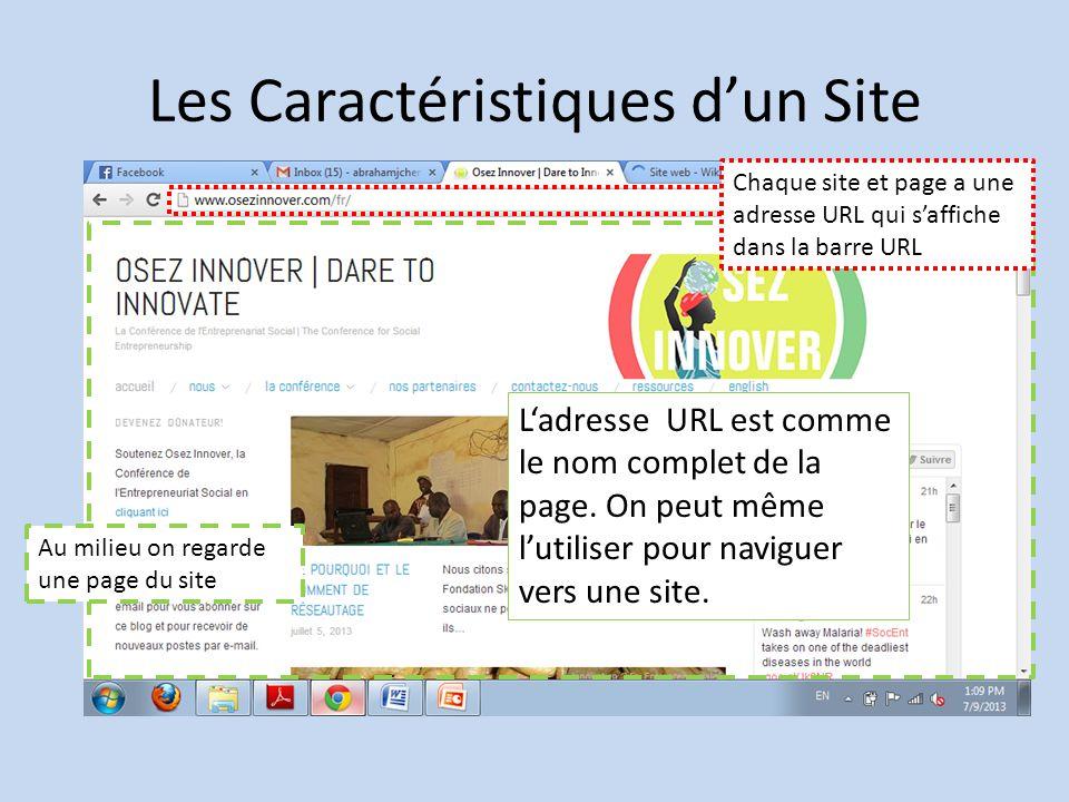 Les Caractéristiques dun Site Au milieu on regarde une page du site Chaque site et page a une adresse URL qui saffiche dans la barre URL Ladresse URL est comme le nom complet de la page.