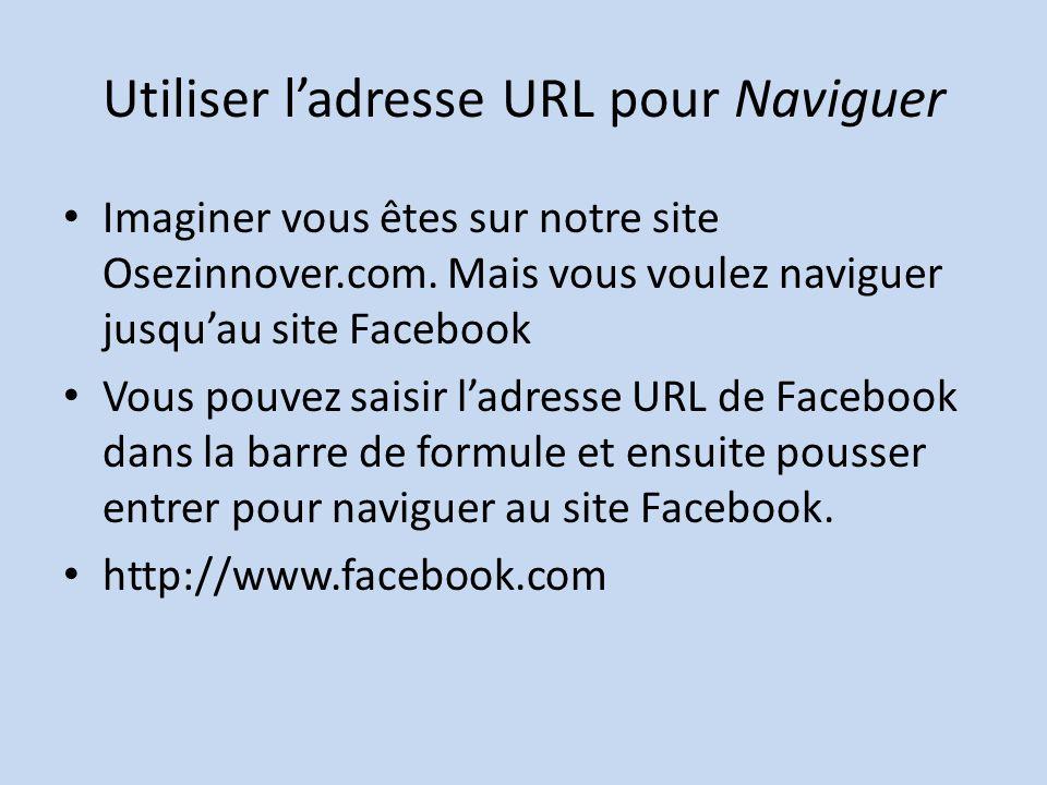Utiliser ladresse URL pour Naviguer Imaginer vous êtes sur notre site Osezinnover.com.