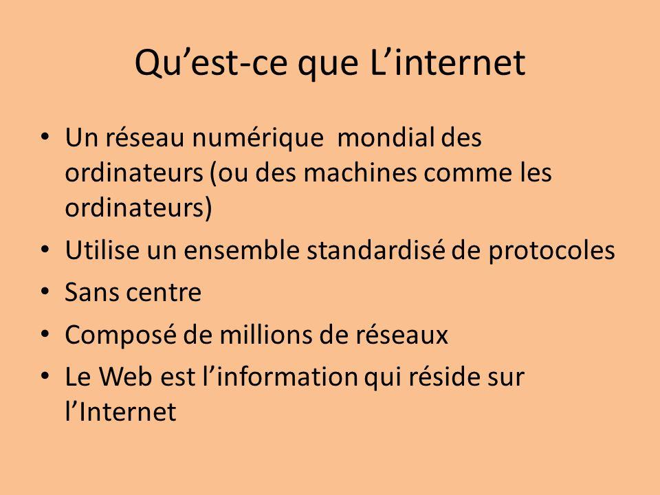 Quest-ce que Linternet Un réseau numérique mondial des ordinateurs (ou des machines comme les ordinateurs) Utilise un ensemble standardisé de protocoles Sans centre Composé de millions de réseaux Le Web est linformation qui réside sur lInternet