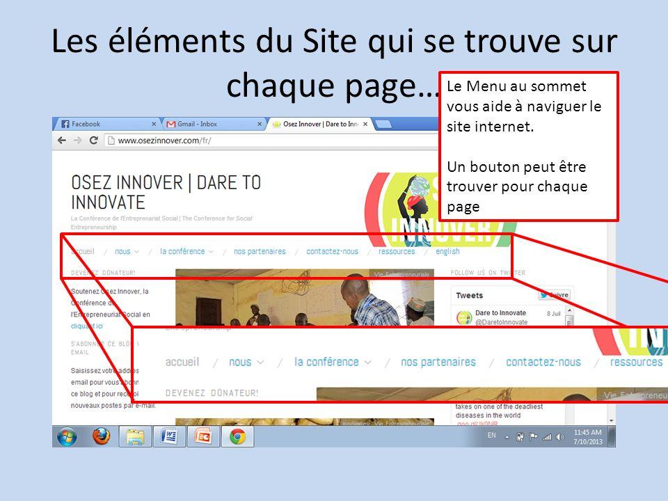 Les éléments du Site qui se trouve sur chaque page… Le Menu au sommet vous aide à naviguer le site internet.
