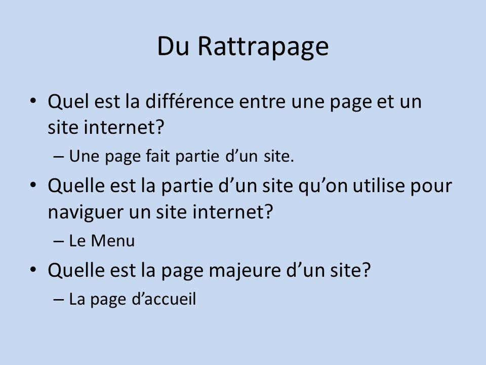 Du Rattrapage Quel est la différence entre une page et un site internet.