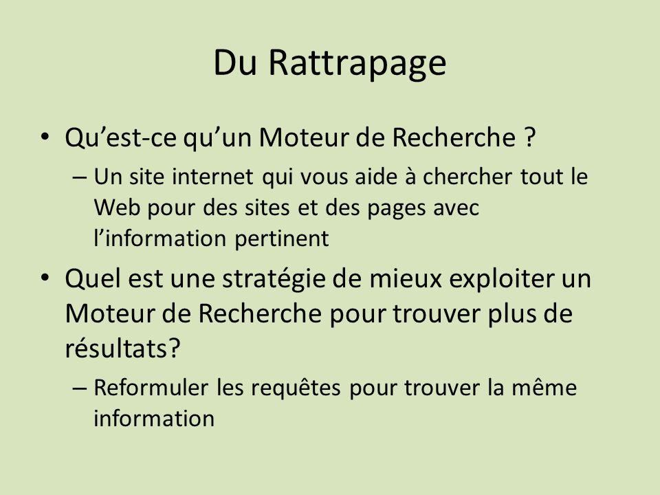 Du Rattrapage Quest-ce quun Moteur de Recherche .