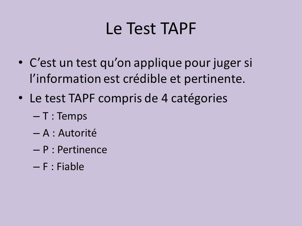 Le Test TAPF Cest un test quon applique pour juger si linformation est crédible et pertinente.