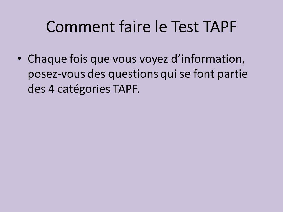 Comment faire le Test TAPF Chaque fois que vous voyez dinformation, posez-vous des questions qui se font partie des 4 catégories TAPF.