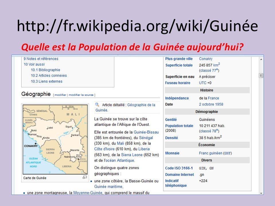 http://fr.wikipedia.org/wiki/Guinée Quelle est la Population de la Guinée aujourdhui?
