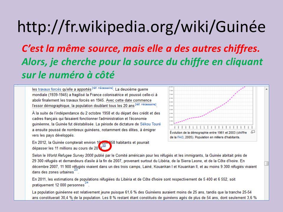 http://fr.wikipedia.org/wiki/Guinée Cest la même source, mais elle a des autres chiffres.