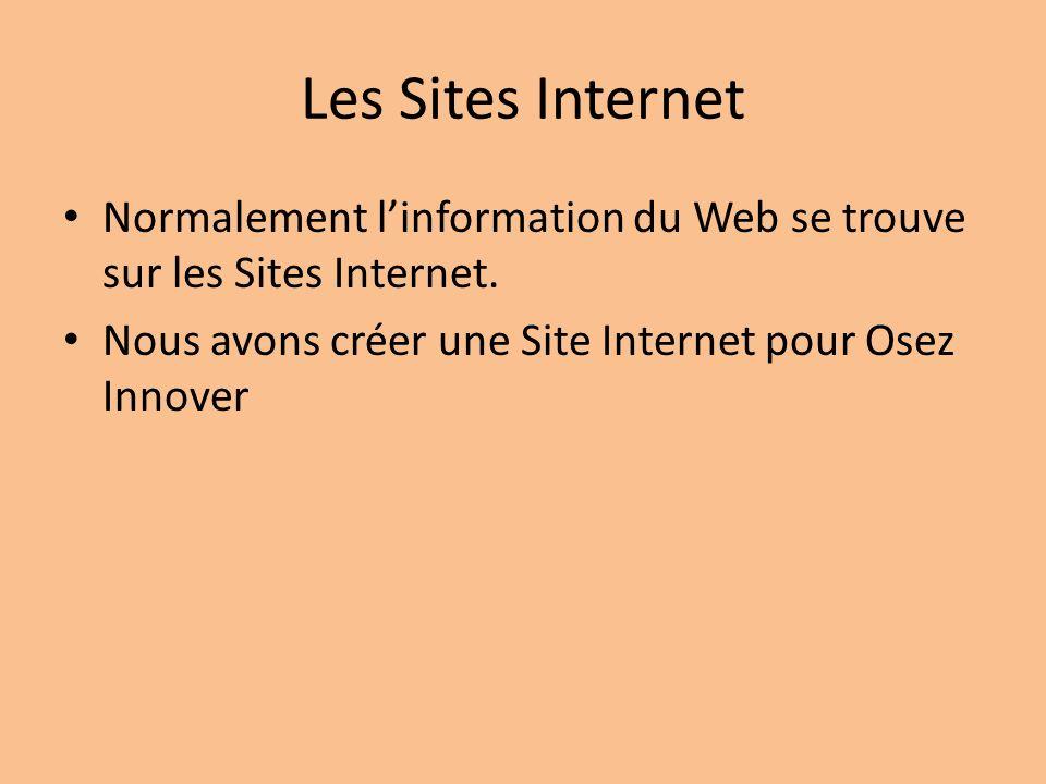 Les Sites Internet Normalement linformation du Web se trouve sur les Sites Internet.
