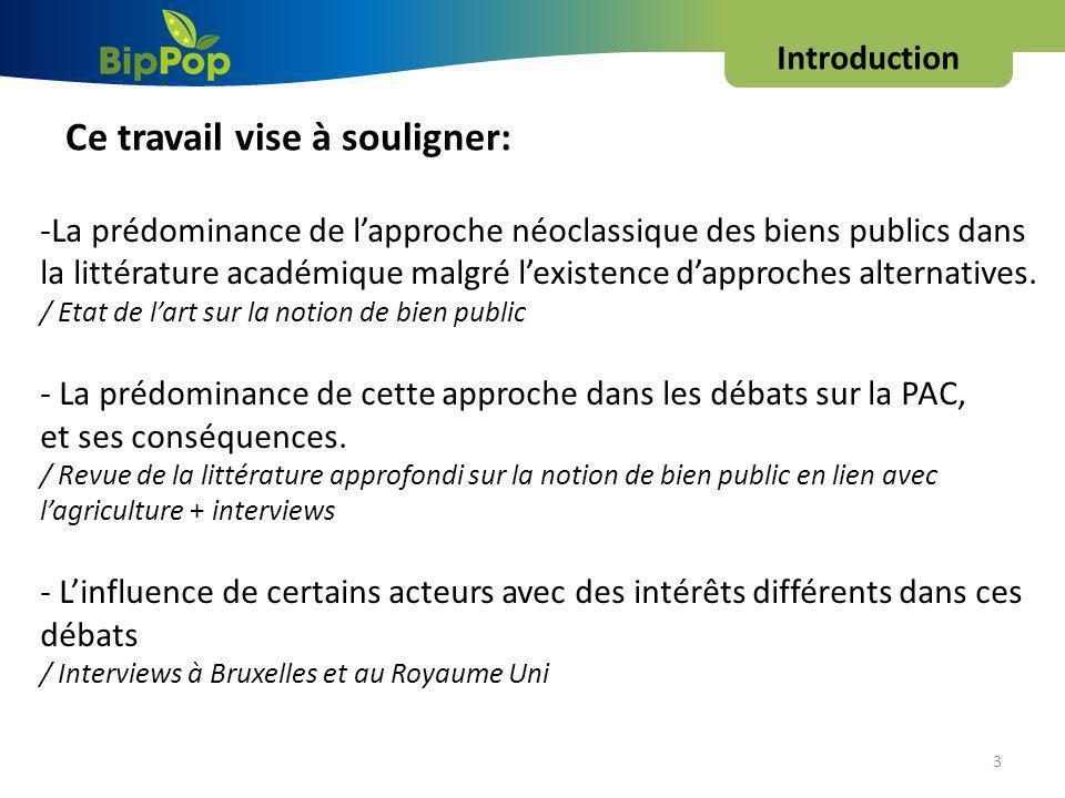 Introduction 3 Ce travail vise à souligner: -La prédominance de lapproche néoclassique des biens publics dans la littérature académique malgré lexistence dapproches alternatives.