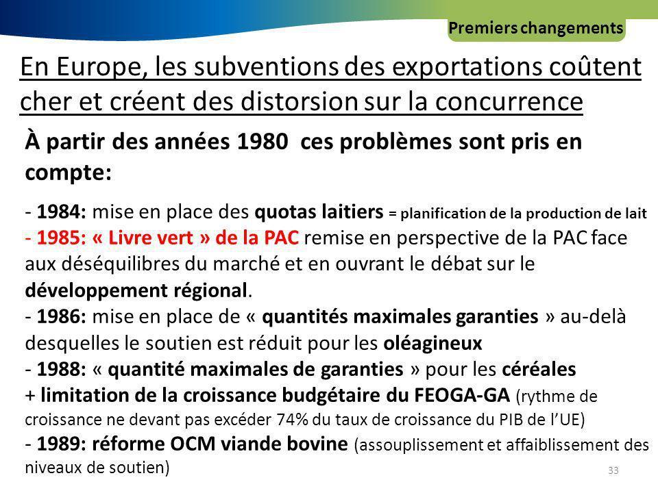 Premiers changements 33 En Europe, les subventions des exportations coûtent cher et créent des distorsion sur la concurrence À partir des années 1980 ces problèmes sont pris en compte: - 1984: mise en place des quotas laitiers = planification de la production de lait - 1985: « Livre vert » de la PAC remise en perspective de la PAC face aux déséquilibres du marché et en ouvrant le débat sur le développement régional.