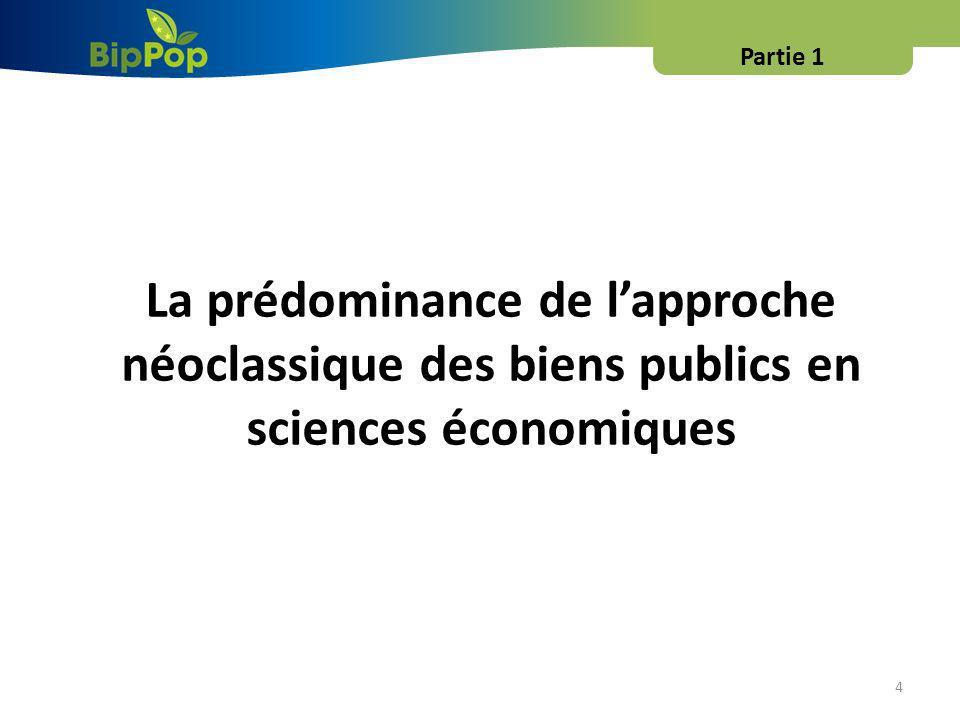 4 La prédominance de lapproche néoclassique des biens publics en sciences économiques Partie 1