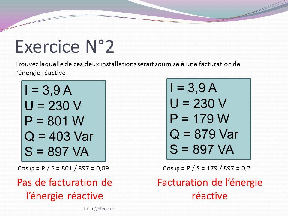 Exercice N°2 http://eleec.tk I = 3,9 A U = 230 V P = 801 W Q = 403 Var S = 897 VA I = 3,9 A U = 230 V P = 179 W Q = 879 Var S = 897 VA Trouvez laquell