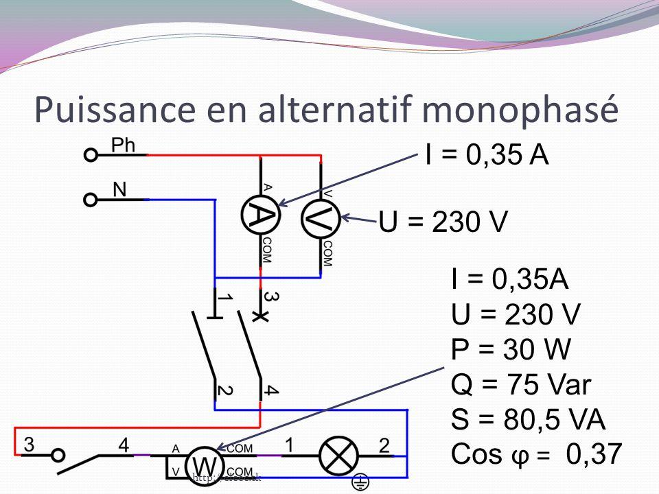 Puissance en alternatif monophasé I = 0,35 A U = 230 V I = 0,35A U = 230 V P = 30 W Q = 75 Var S = 80,5 VA Cos ϕ = 0,37 http://eleec.tk
