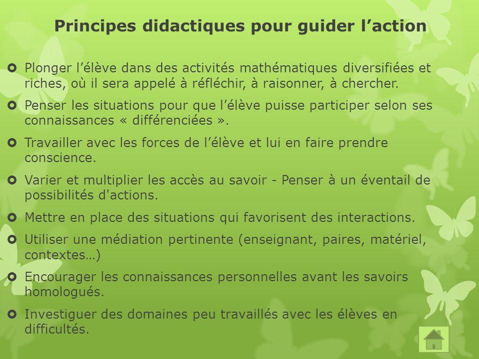Principes didactiques pour guider laction Plonger lélève dans des activités mathématiques diversifiées et riches, où il sera appelé à réfléchir, à raisonner, à chercher.