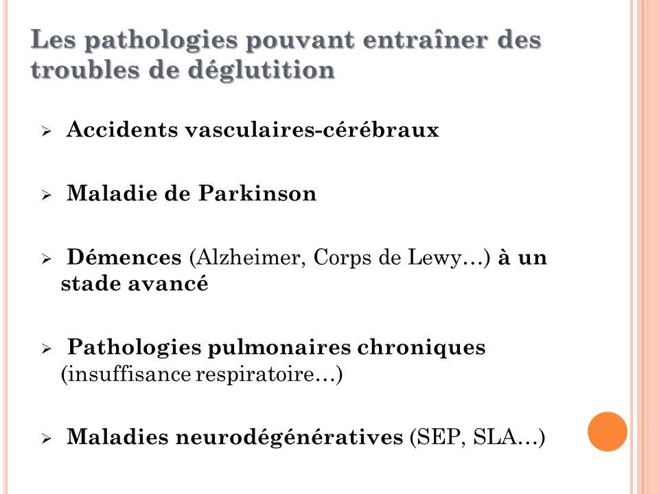 Accidents vasculaires-cérébraux Maladie de Parkinson Démences (Alzheimer, Corps de Lewy…) à un stade avancé Pathologies pulmonaires chroniques (insuff