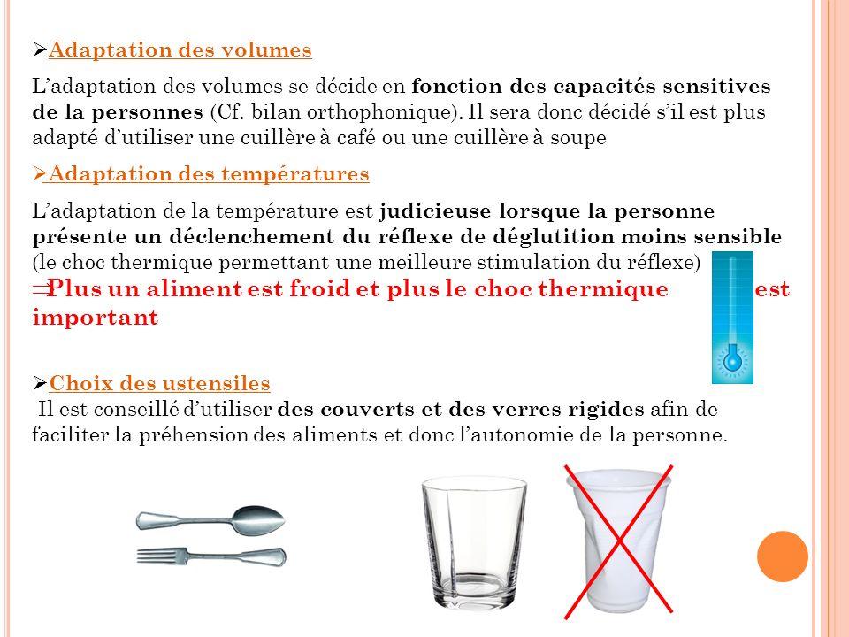 Adaptation des volumes Ladaptation des volumes se décide en fonction des capacités sensitives de la personnes (Cf. bilan orthophonique). Il sera donc