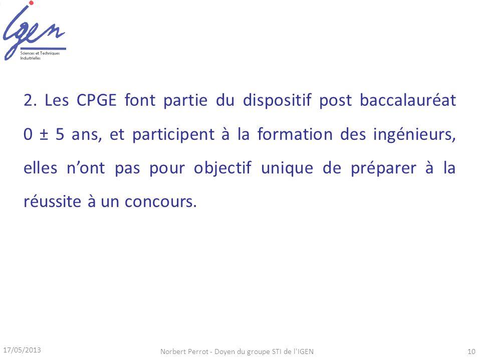 17/05/2013 Norbert Perrot - Doyen du groupe STI de l'IGEN10 2. Les CPGE font partie du dispositif post baccalauréat 0 ± 5 ans, et participent à la for