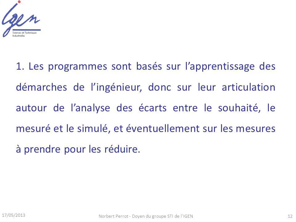 17/05/2013 Norbert Perrot - Doyen du groupe STI de l'IGEN12 1. Les programmes sont basés sur lapprentissage des démarches de lingénieur, donc sur leur