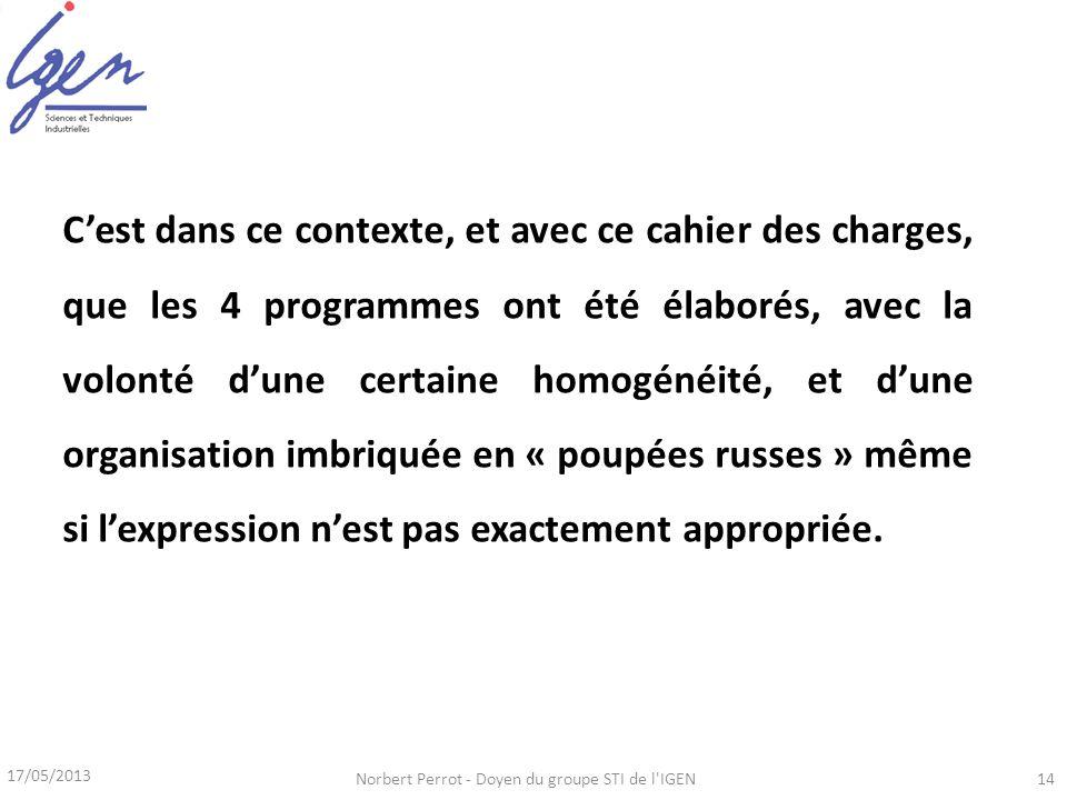 17/05/2013 Norbert Perrot - Doyen du groupe STI de l'IGEN14 Cest dans ce contexte, et avec ce cahier des charges, que les 4 programmes ont été élaboré