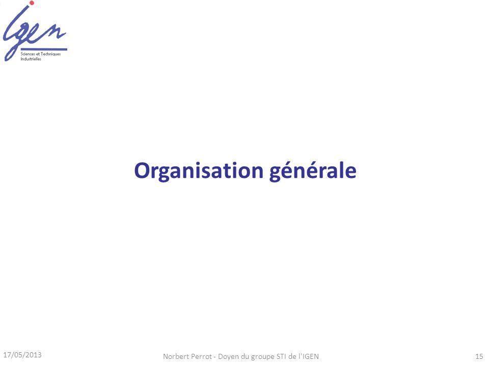 17/05/2013 Norbert Perrot - Doyen du groupe STI de l IGEN15 Organisation générale