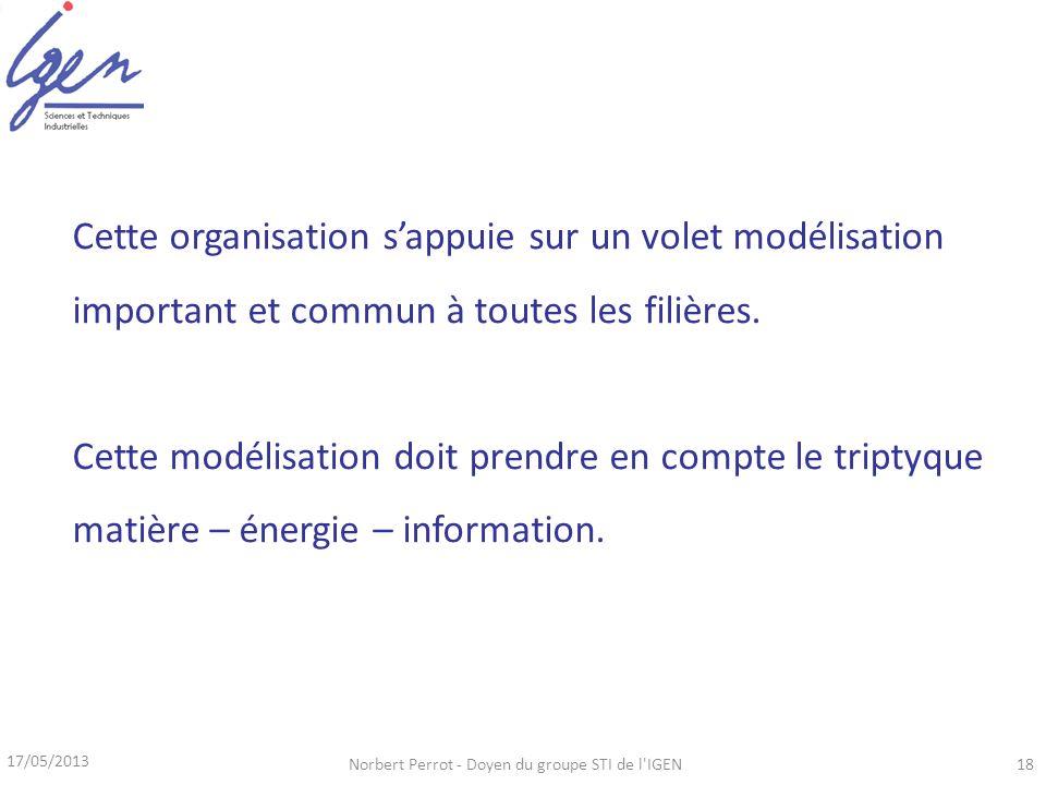 17/05/2013 Norbert Perrot - Doyen du groupe STI de l IGEN18 Cette organisation sappuie sur un volet modélisation important et commun à toutes les filières.