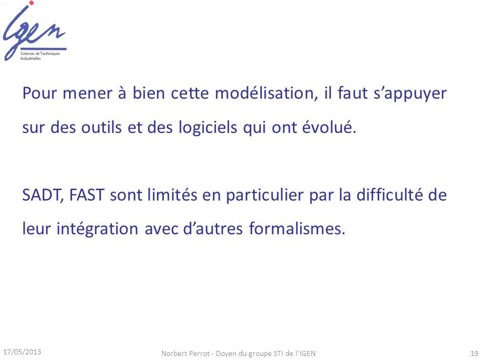 17/05/2013 Norbert Perrot - Doyen du groupe STI de l'IGEN19 Pour mener à bien cette modélisation, il faut sappuyer sur des outils et des logiciels qui