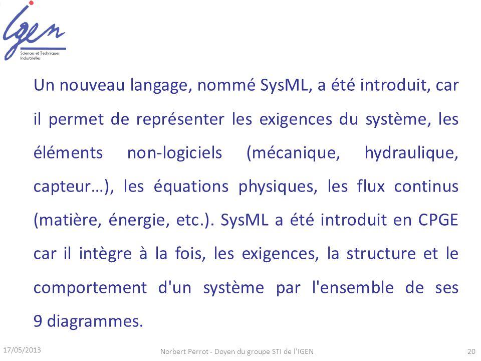 17/05/2013 Norbert Perrot - Doyen du groupe STI de l IGEN20 Un nouveau langage, nommé SysML, a été introduit, car il permet de représenter les exigences du système, les éléments non-logiciels (mécanique, hydraulique, capteur…), les équations physiques, les flux continus (matière, énergie, etc.).
