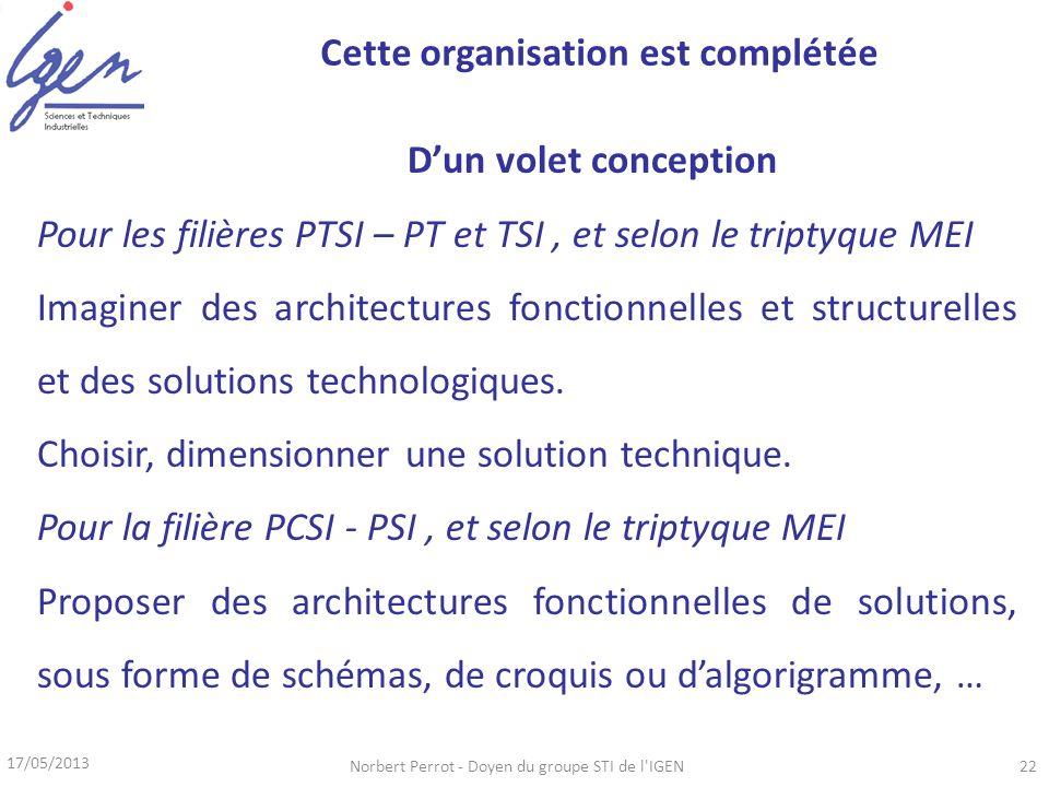 17/05/2013 Norbert Perrot - Doyen du groupe STI de l IGEN22 Dun volet conception Pour les filières PTSI – PT et TSI, et selon le triptyque MEI Imaginer des architectures fonctionnelles et structurelles et des solutions technologiques.