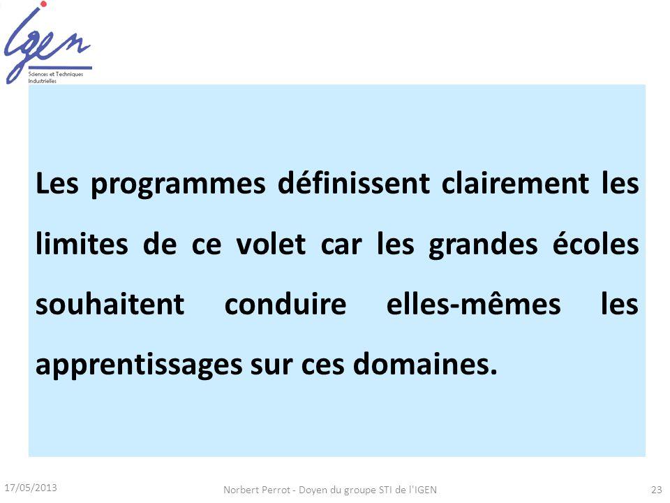 17/05/2013 Norbert Perrot - Doyen du groupe STI de l'IGEN23 Dun volet réalisation Filière PTSI – PT,, et selon le triptyque MEI Définir et choisir les