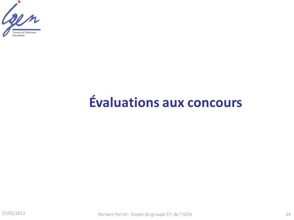 17/05/2013 Norbert Perrot - Doyen du groupe STI de l IGEN24 Évaluations aux concours