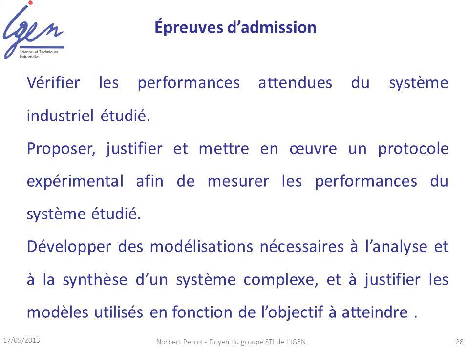 17/05/2013 Norbert Perrot - Doyen du groupe STI de l'IGEN28 Vérifier les performances attendues du système industriel étudié. Proposer, justifier et m