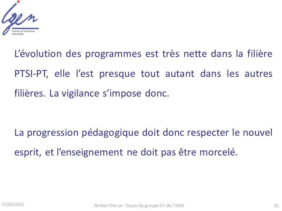 17/05/2013 Norbert Perrot - Doyen du groupe STI de l IGEN31 Lévolution des programmes est très nette dans la filière PTSI-PT, elle lest presque tout autant dans les autres filières.