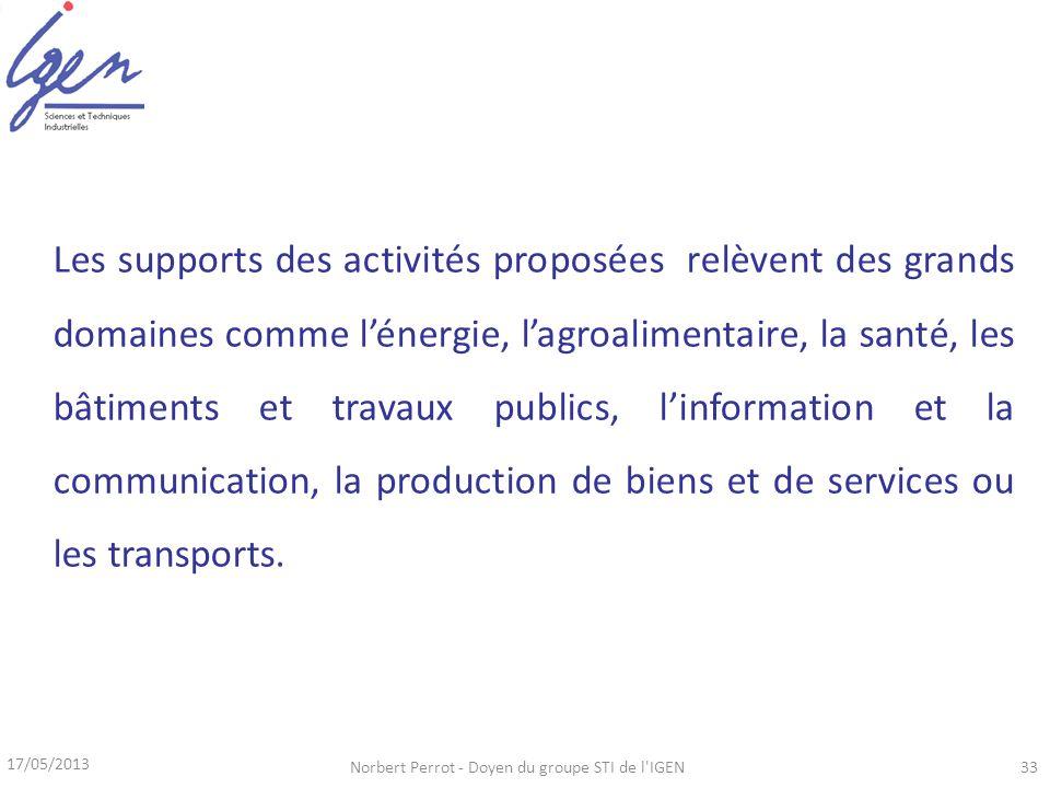 17/05/2013 Norbert Perrot - Doyen du groupe STI de l'IGEN33 Les supports des activités proposées relèvent des grands domaines comme lénergie, lagroali