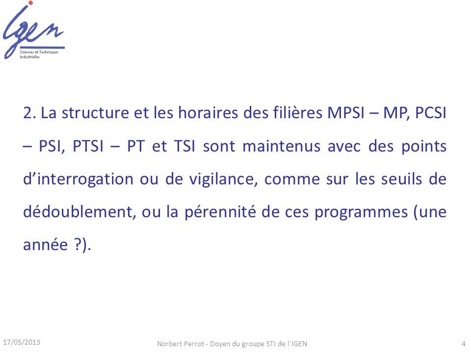 17/05/2013 Norbert Perrot - Doyen du groupe STI de l'IGEN4 2. La structure et les horaires des filières MPSI – MP, PCSI – PSI, PTSI – PT et TSI sont m