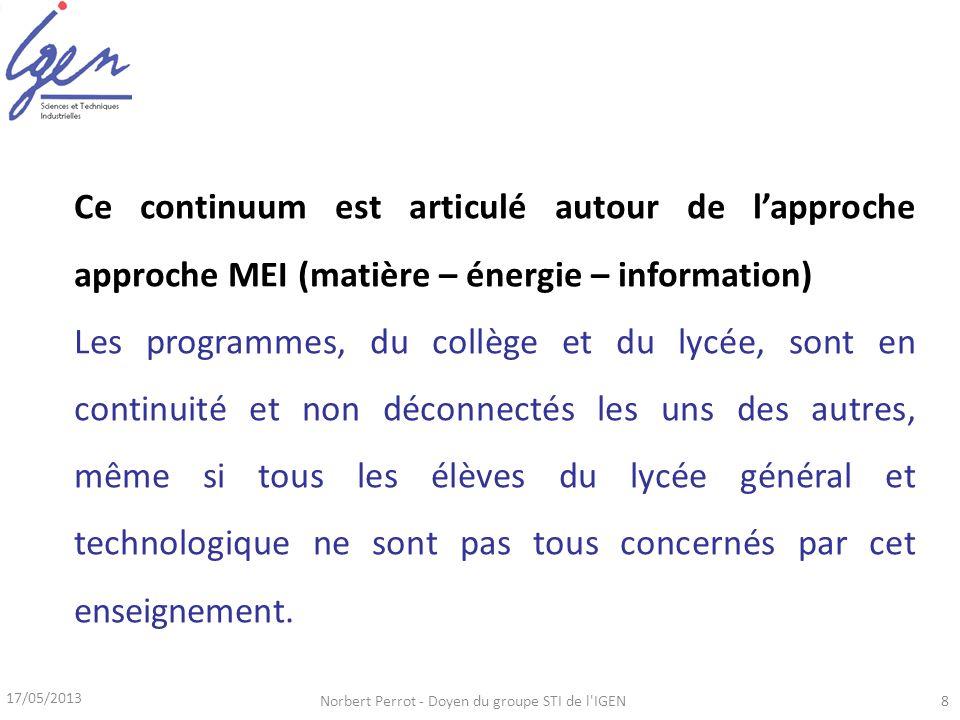 17/05/2013 Norbert Perrot - Doyen du groupe STI de l'IGEN8 Ce continuum est articulé autour de lapproche approche MEI (matière – énergie – information