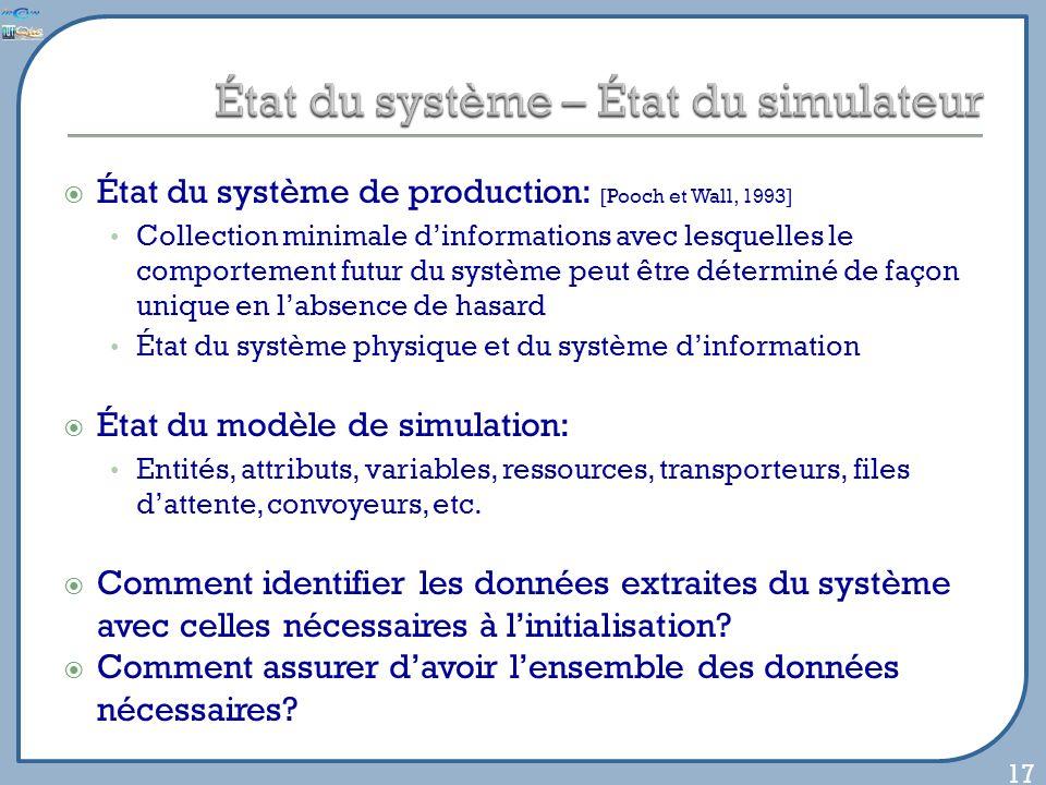 État du système de production: [Pooch et Wall, 1993] Collection minimale dinformations avec lesquelles le comportement futur du système peut être déte