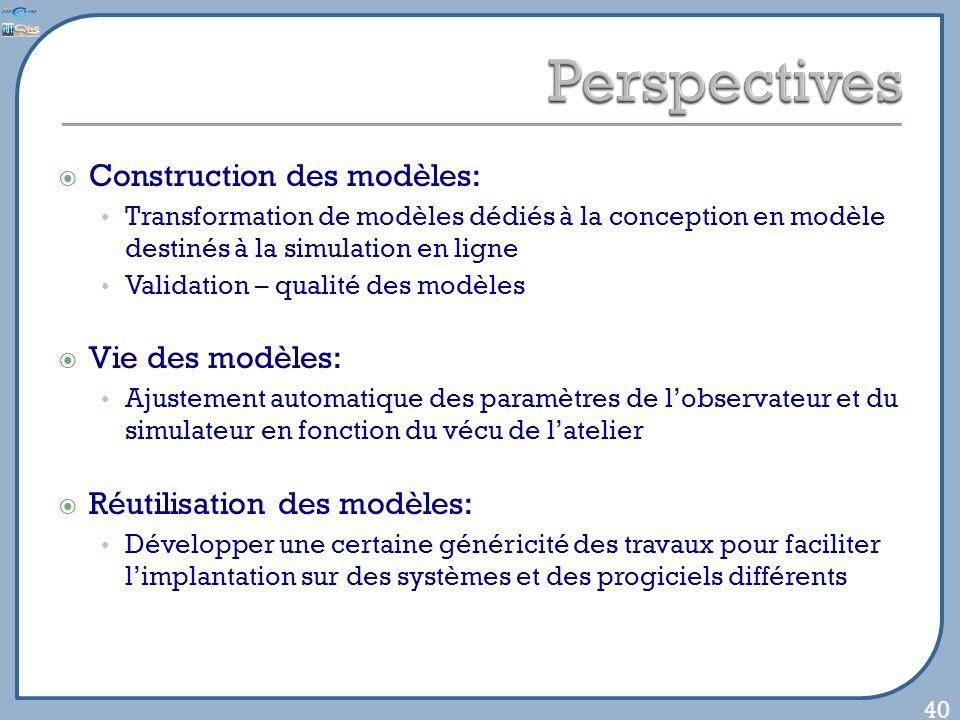 Construction des modèles: Transformation de modèles dédiés à la conception en modèle destinés à la simulation en ligne Validation – qualité des modèle