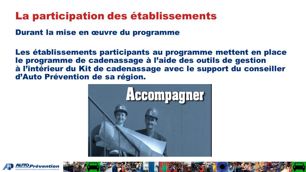 Durant la mise en œuvre du programme Les établissements participants au programme mettent en place le programme de cadenassage à laide des outils de g
